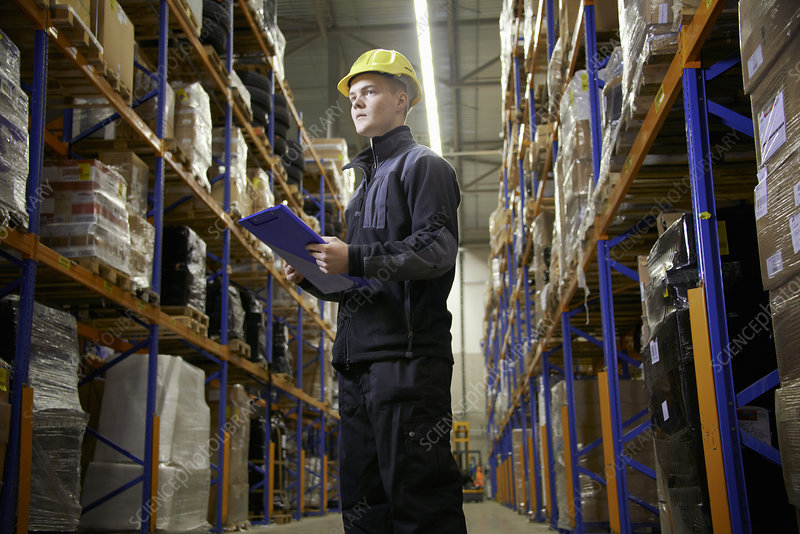 Worker checking stock in warehouse