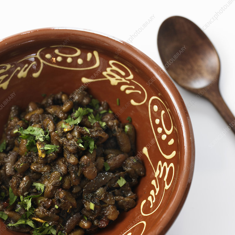 Bowl of beans with herbs