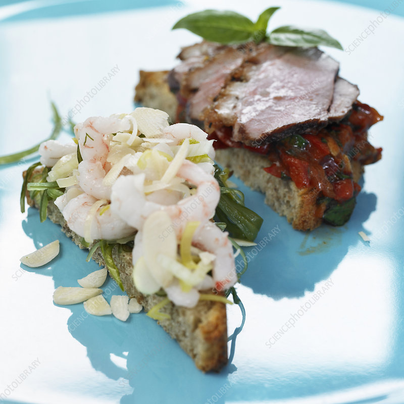 Plate of open faced sandwiches