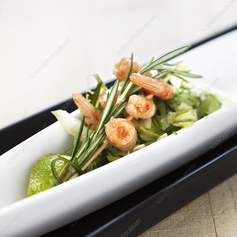 Plate of shrimp and salad
