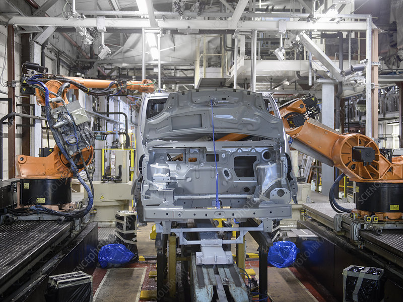 Robots at work in car factory