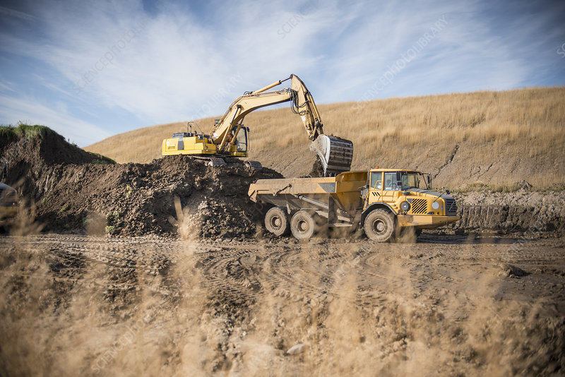 Excavator working at surface coal mine