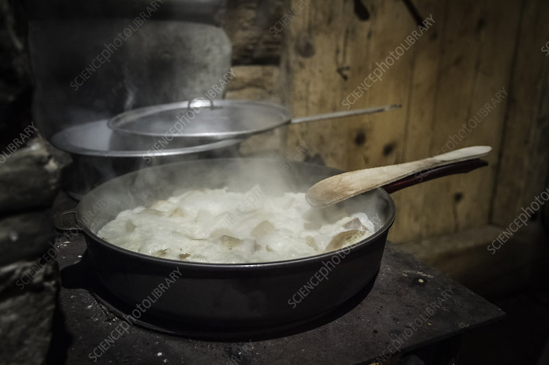 Pot of stew cooking on stove