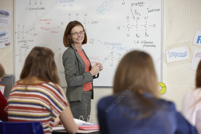 Teacher at whiteboard in science class