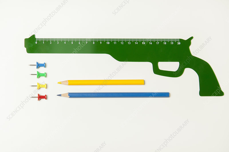 Gun shaped ruler and office supplies