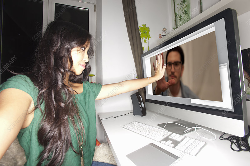 Woman taking picture with video chat