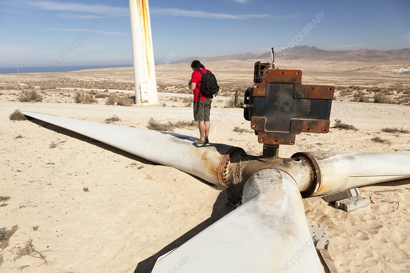 Broken wind turbine