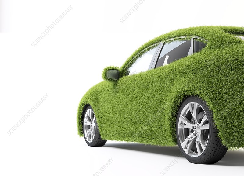 Green car, conceptual artwork