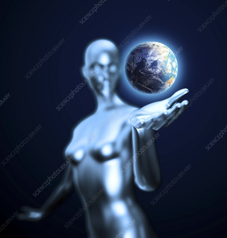 Android holding Earth, artwork