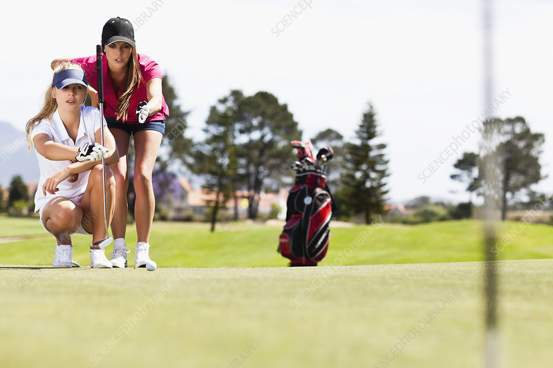 Selective Focus Focused Female Golfers Playing Golf Golf