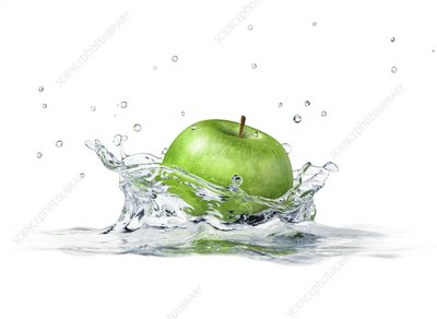 Apple splashing into water, artwork