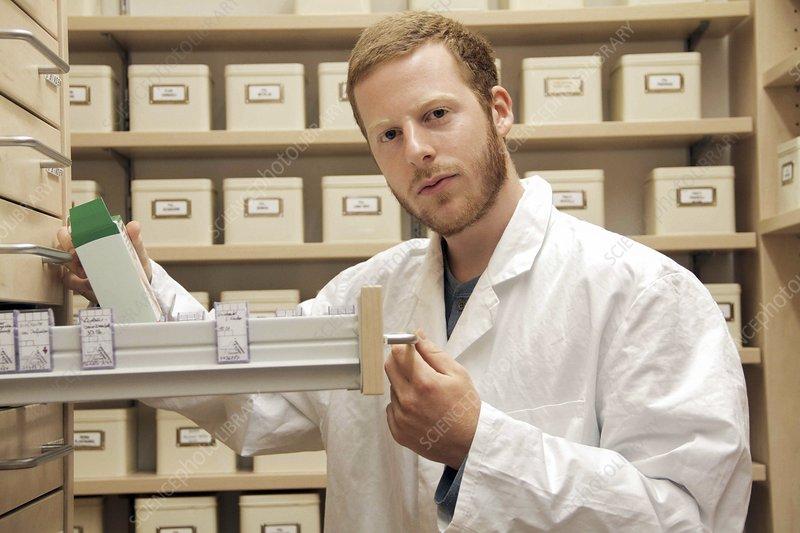Pharmacist selecting drugs