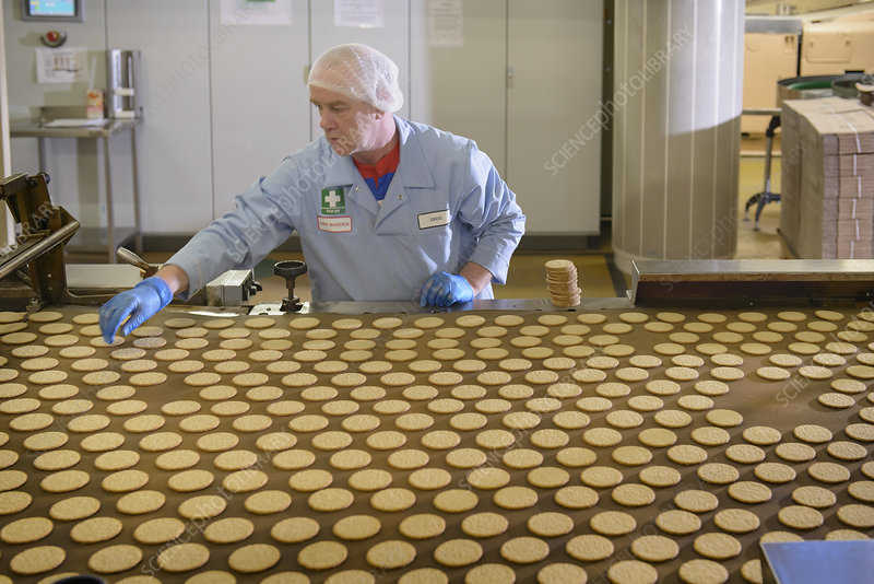 Worker checking production line