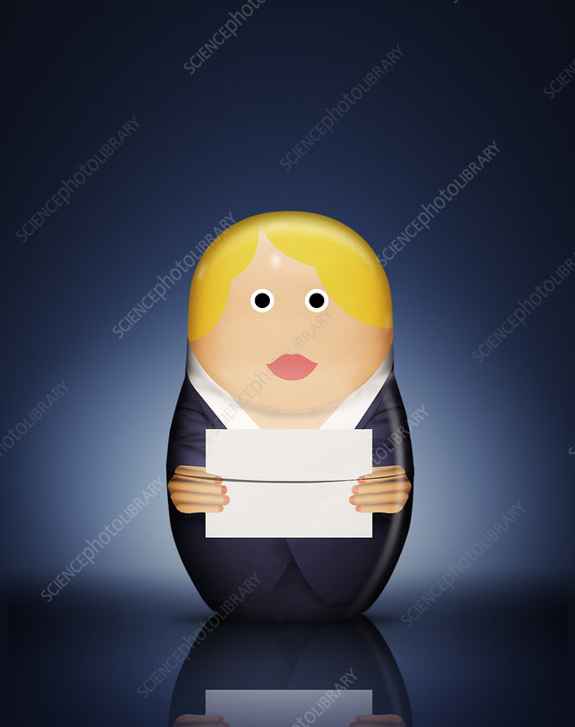 Businesswoman Russian doll with envelope