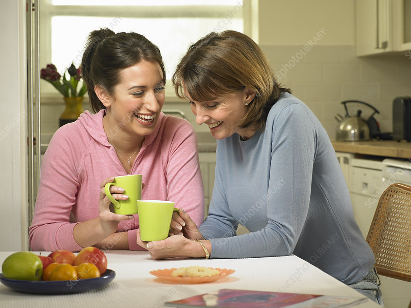 Women having coffee together in kitchen