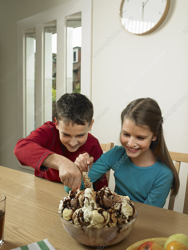 Children eating large bowl of ice cream