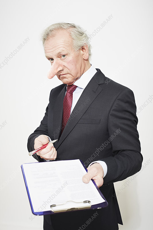 Businessman with long nose and contract