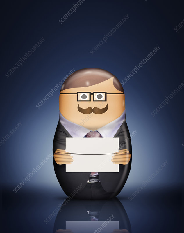 Businessman Russian doll with envelope