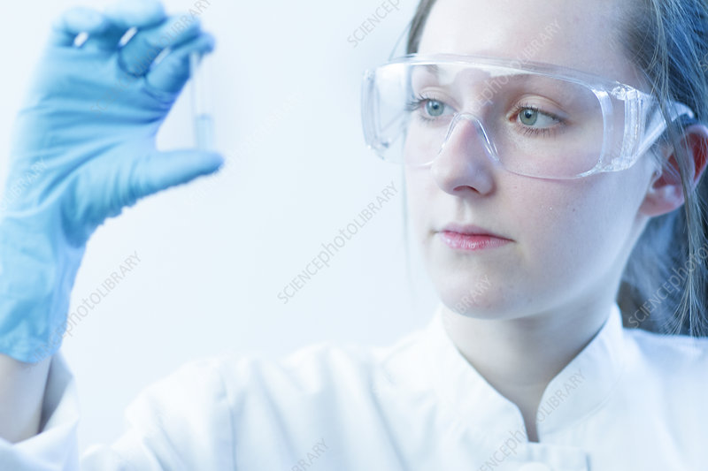Scientist examining test tube in lab
