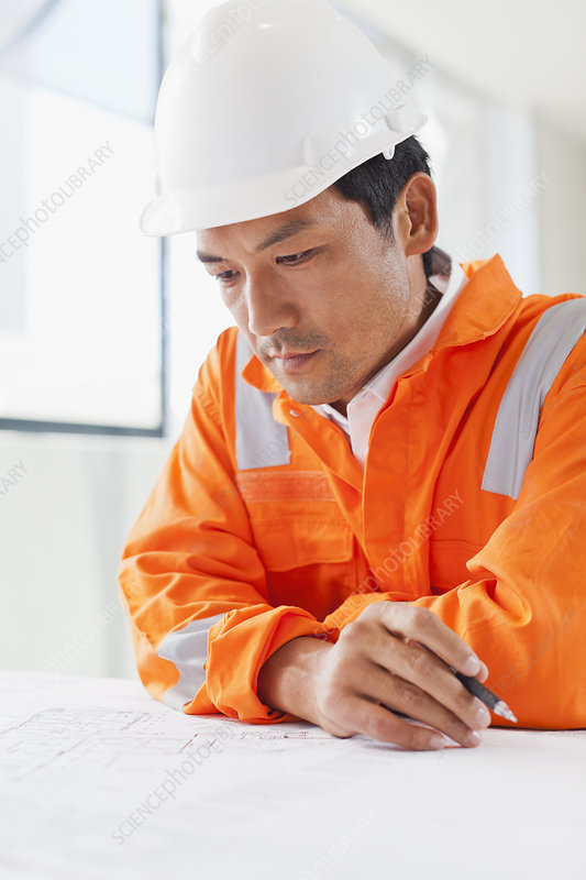 Businessman reading blueprints