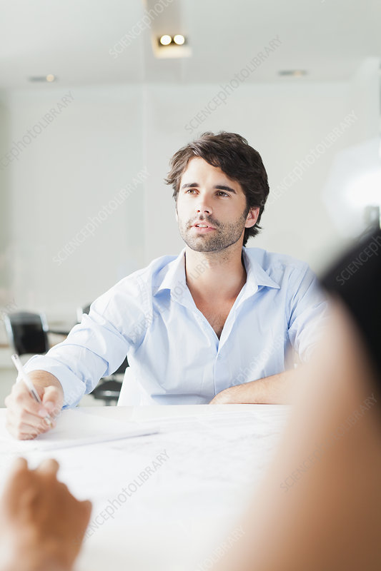Businessman sitting in meeting