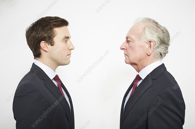 Businessmen facing each other
