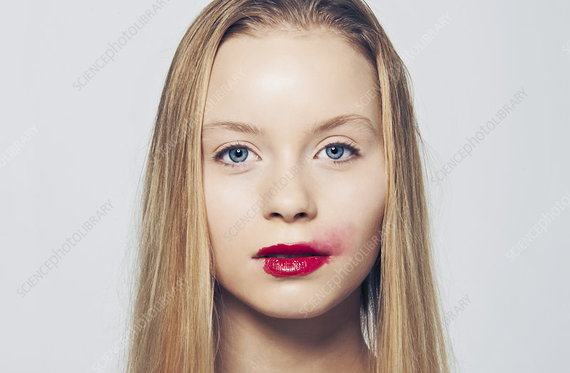 Woman with smeared lipstick