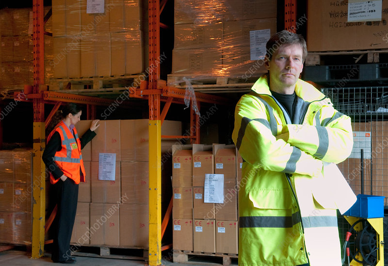 Serious male supervisor in warehouse