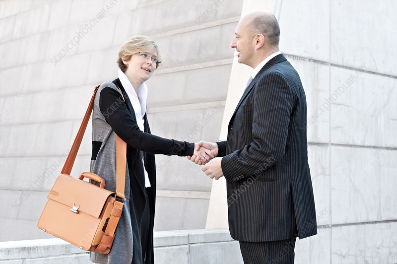 Businesswoman and man shaking hands