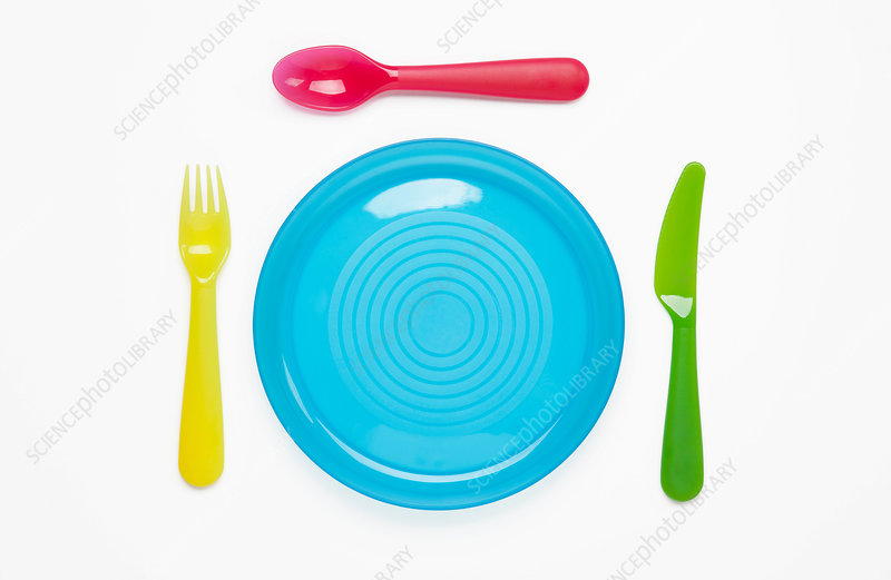 Colourful plastic plate and cutlery