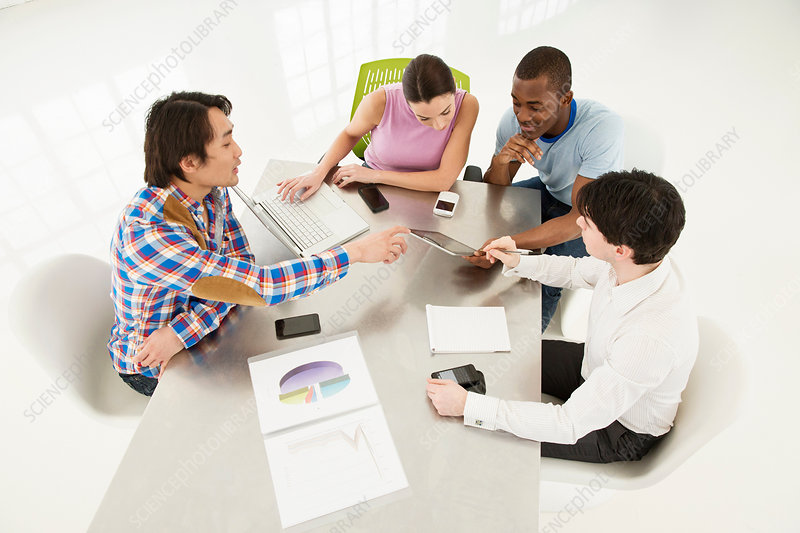 Casual Business Meeting High Angle Stock Image F007 9324 Enlarged