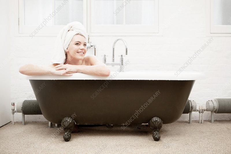 Woman in vintage bath