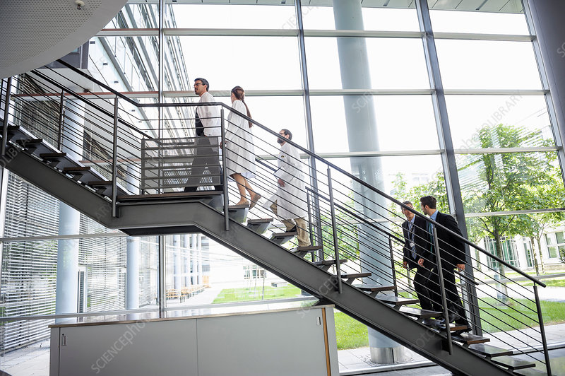 Doctors and businessmen walking up stairs