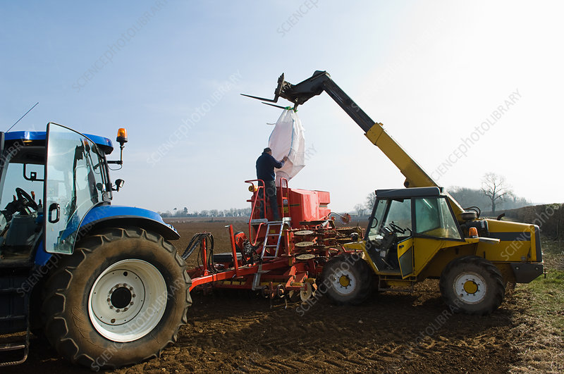 Farmer filling machinery with seed
