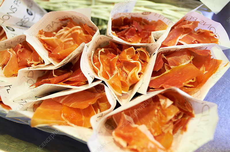 Wrapped cured ham slices
