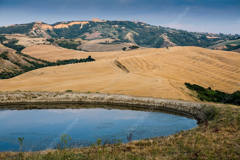 Reservoir in Tuscan landscape, Italy