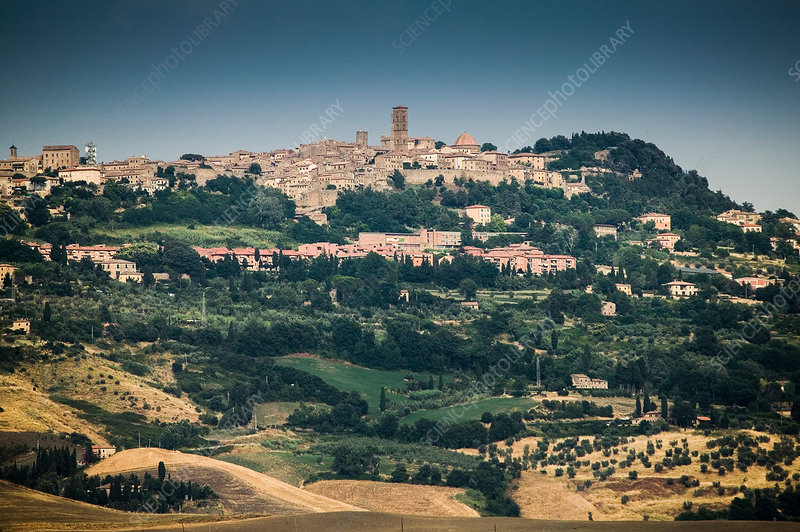 Distant view of Volterra town, Italy