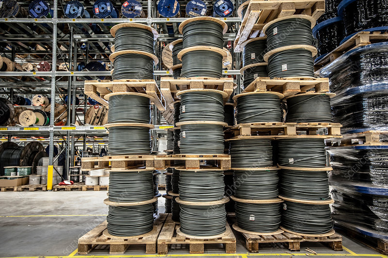 Cable drums stacked on pallets