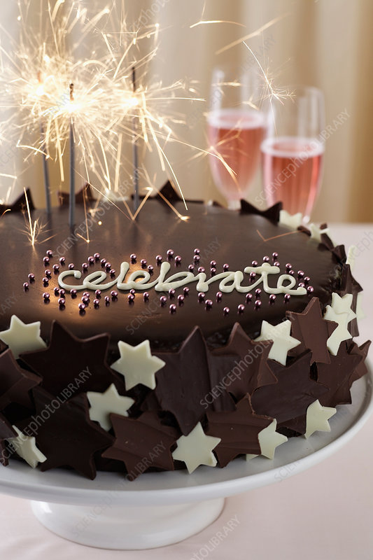 Chocolate cake with sparklers