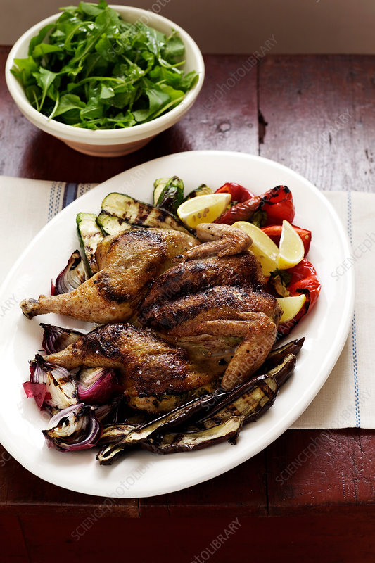 Roast chicken and vegetables on plate