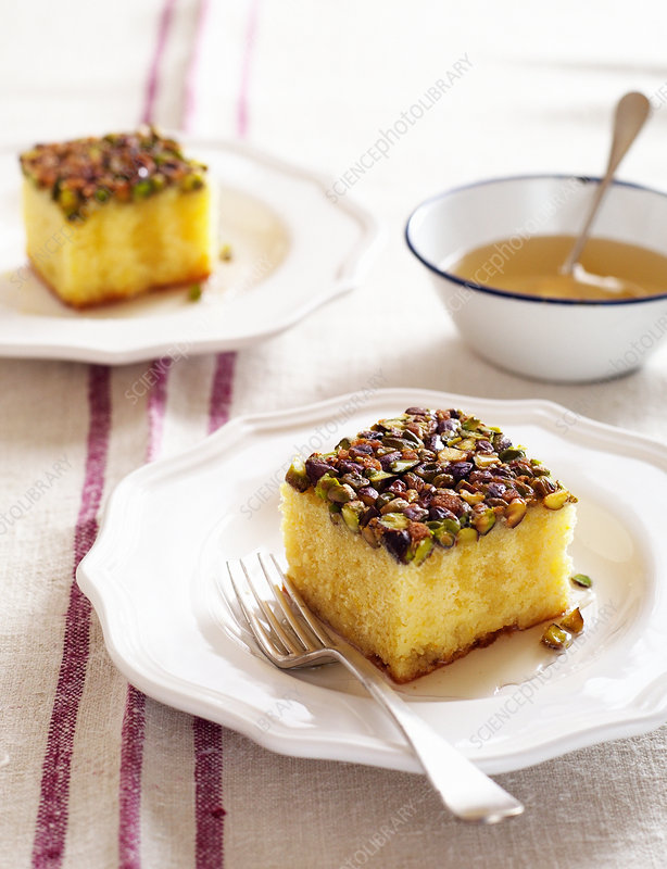 Lemon syrup cake with pistachios