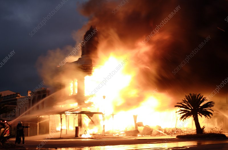 Building engulfed in flames