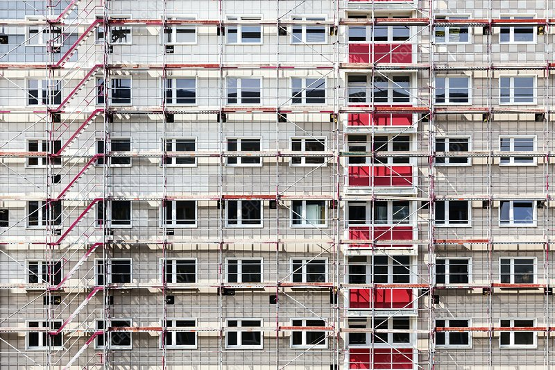 Scaffolding on a block of flats