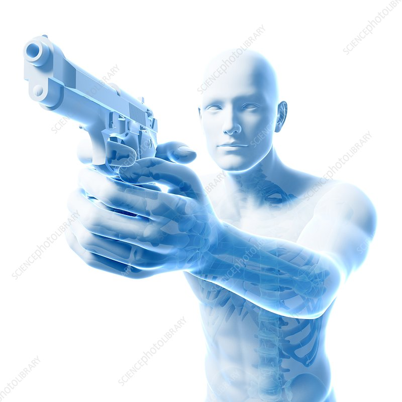 Man with gun, artwork