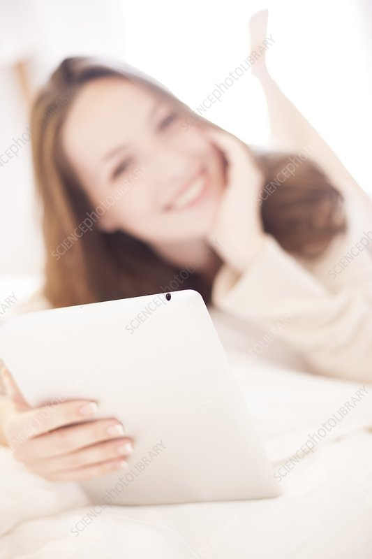 Young woman using a tablet computer