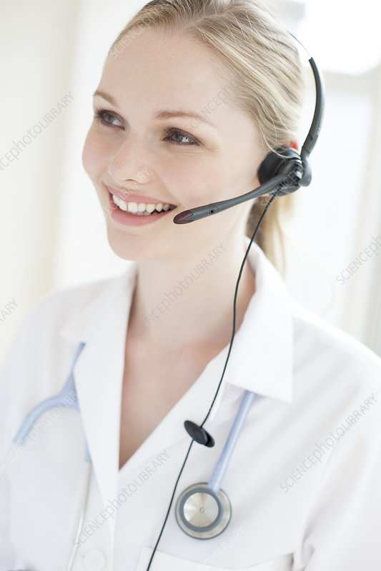 Doctor using a headset