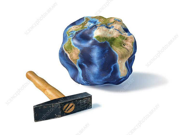 Battered globe, artwork