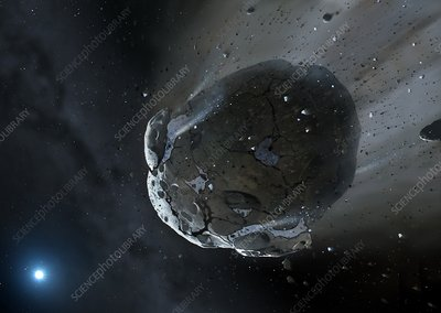 Artwork of water-rich asteroid