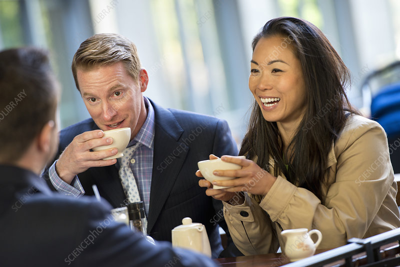 Man and woman in coffee shop