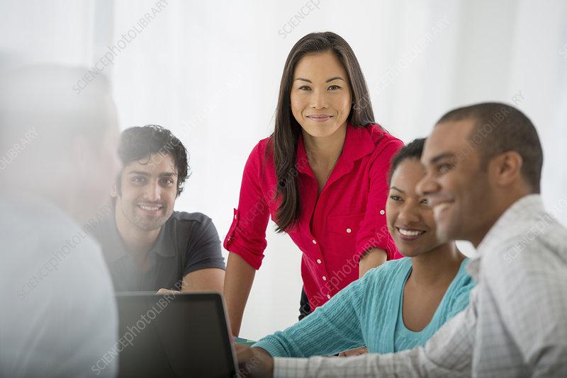Multi-ethnic group team meeting